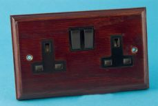 Varilight Kilnwood 2 Gang 13A Switched Socket Mahogany Black Insert XK5MB
